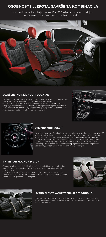 Fiat 500 unutrašnjost